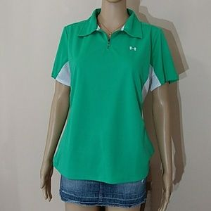Under Armour Women's Golf Zip Polo Mesh on side(A)